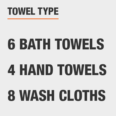 Set includes six bath towels, four hand towels, and eight wash cloths