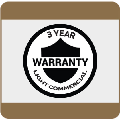 3-Year Light Commercial Warranty details available