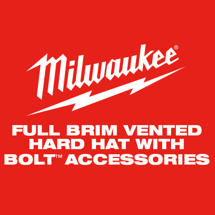 Milwaukee Full Brim Vented Hard Hat with BOLT™ Accessories