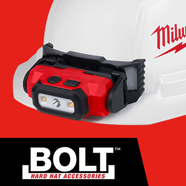 BOLT™ Headlamp Mount Stays Secure to construction hard hat