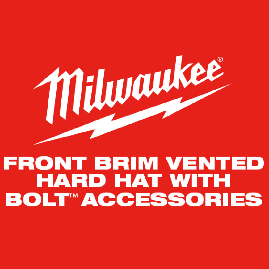 Milwaukee Front Brim Vented Hard Hat with BOLT Accessories