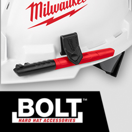 Milwaukee hard hat with BOLT Marker Clip