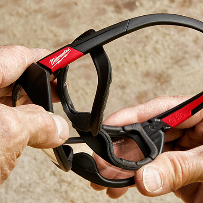 Removeable safety glasses' gasket protects against debris