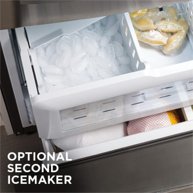 Tight shot showing ice in icemaker.