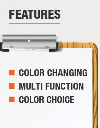 The features of the lights are color changing, color choice and multi function