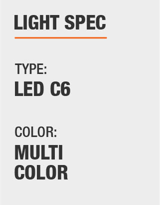 The light type is LED and Multiple colors