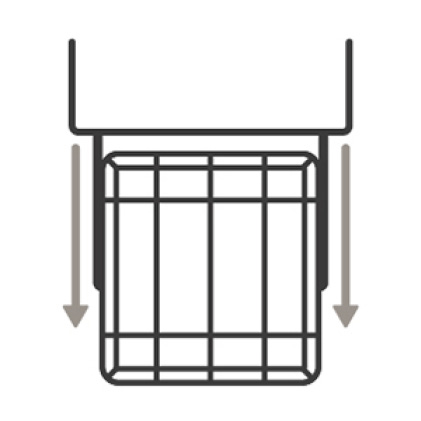 An icon of the upper rack of the dishwasher smoothly sliding out.
