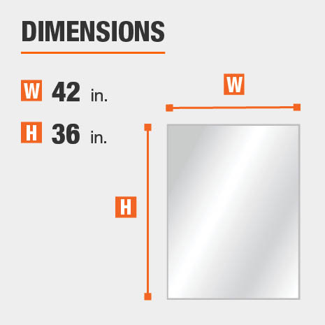 The dimensions of this bathroom vanity mirror are 42 in. W x 36 in. H