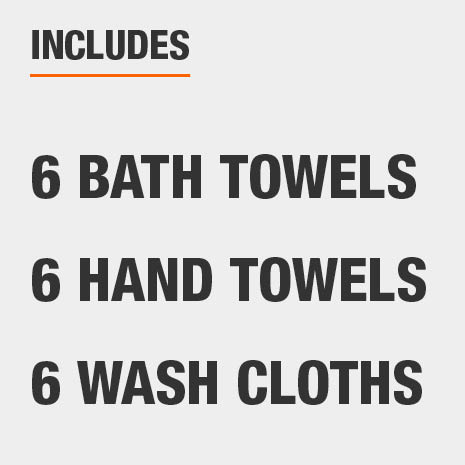 Set includes six bath towels, six hand towels, and six wash cloths