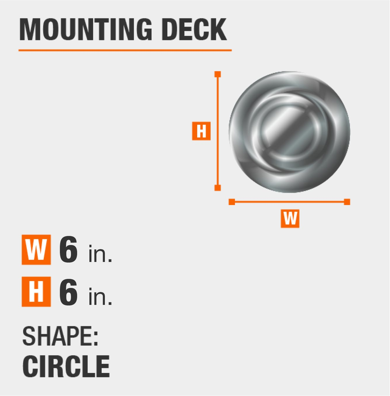 mounting deck is circular and 6 inches by 6 inches