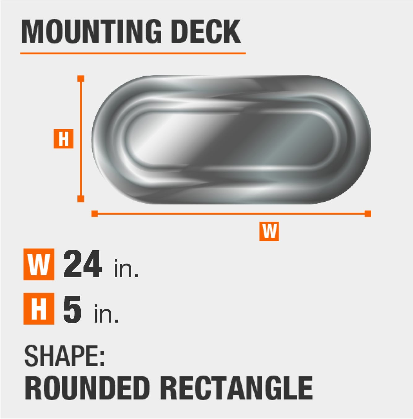 mounting deck is rectangular with round sides and 5 inches by 24 inches