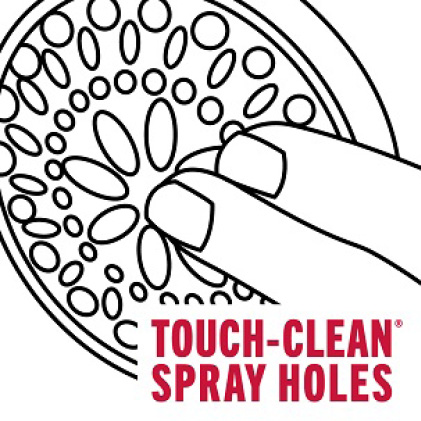 "Image is a black and white line drawing of showerhead with fingers touching the spray holes and copy ""Touch-Clean spray holes"""