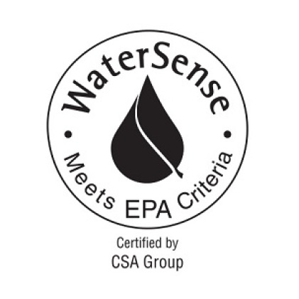"""Image is a black and white line drawing of the WaterSense logo with copy """"Meets EPA Criteria"""""""