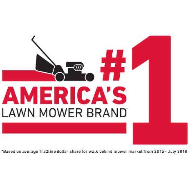 image of person mowing their lawn with arrows that show how the personal pace feature helps move the lawn mower forward.
