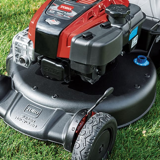 close up on Toro's durable steel deck lawn mower.