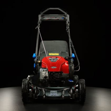 image of the front of the lawn mower, showing the commercial look and feel.