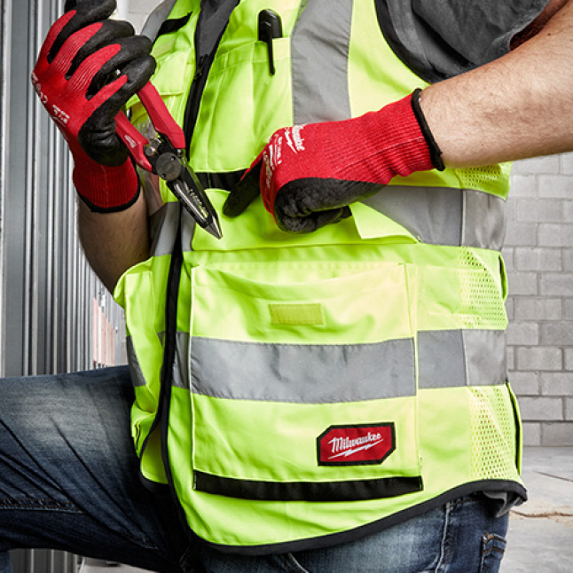 Milwaukee high visibility safety vest with tear resistant front pockets