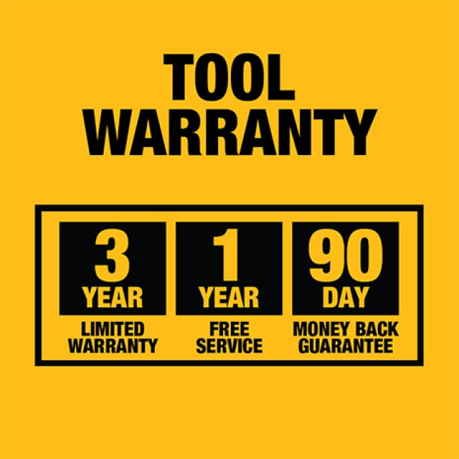 Backed by DEWALT Limited Lifetime Warranty