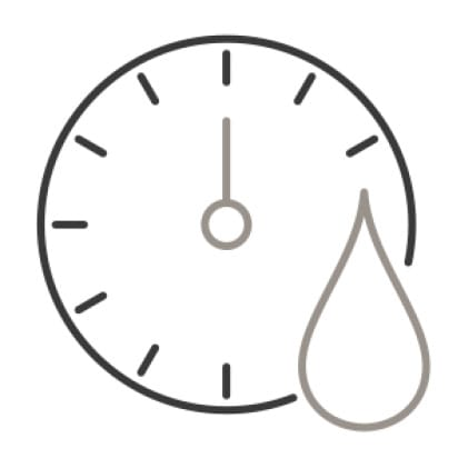 An icon of a clock with a drop of water superimposed in the corner, demonstrating the wash cycle