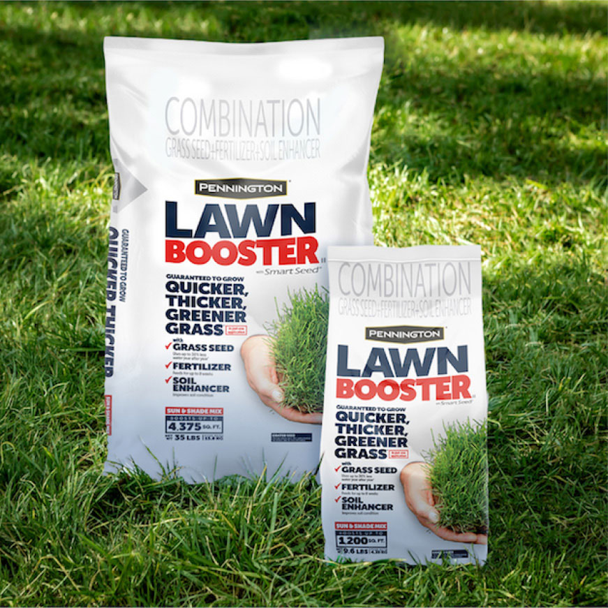 Pennington Sun and Shade Lawn Booster grows quicker, thicker, and greener grass