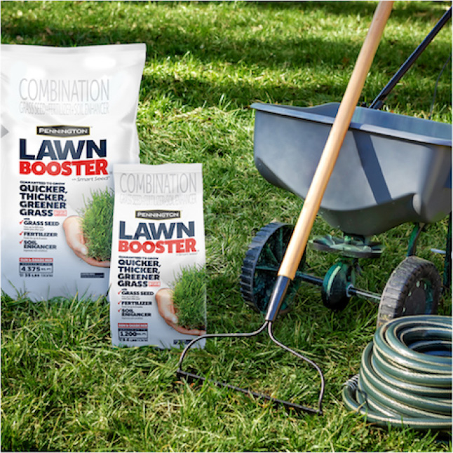 Pennington Sun and Shade Lawn Booster requires a freshly mowed lawn, seed, spreader, and water sprayer