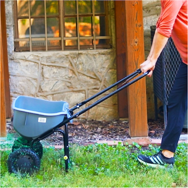 Pennington Sun and Shade Lawn Booster apply using a spreader