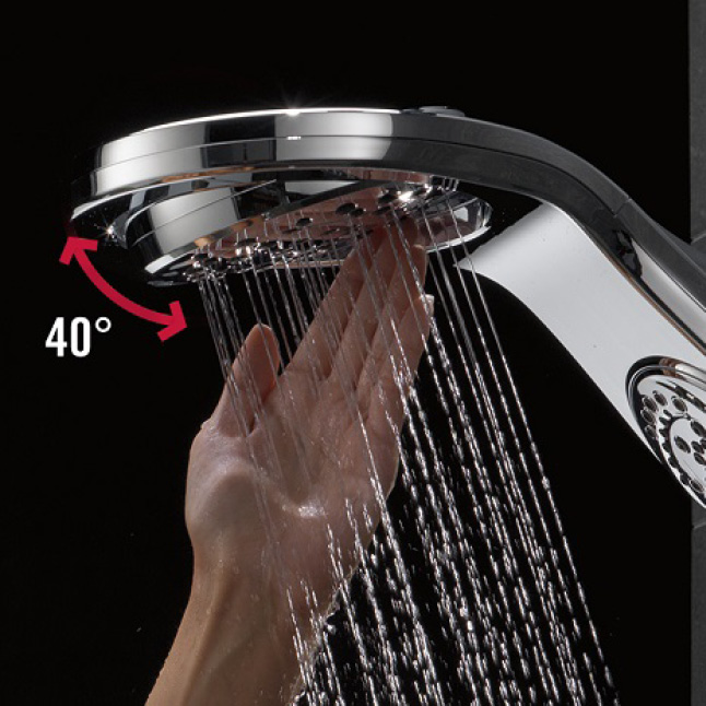 Image is a black background with a hand pivoting the overhead raincan section of the showerhead.