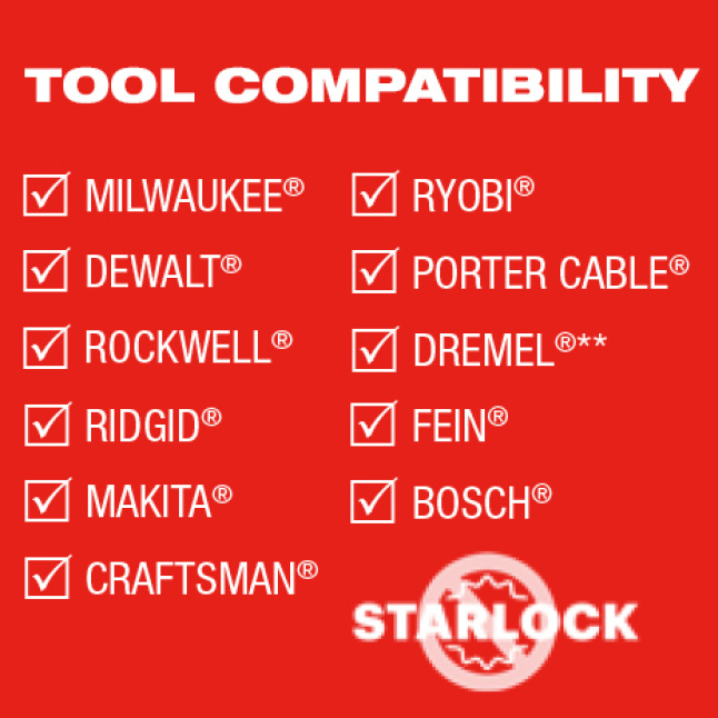 Univeral Fit with most major tool brands. Not for use with Starlock Tools.