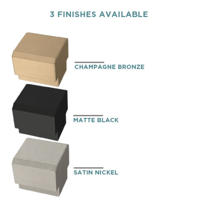 Images showing available cabinet hardware finishes