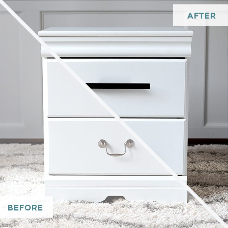 Image of before and after of Adjustable drawer pulls