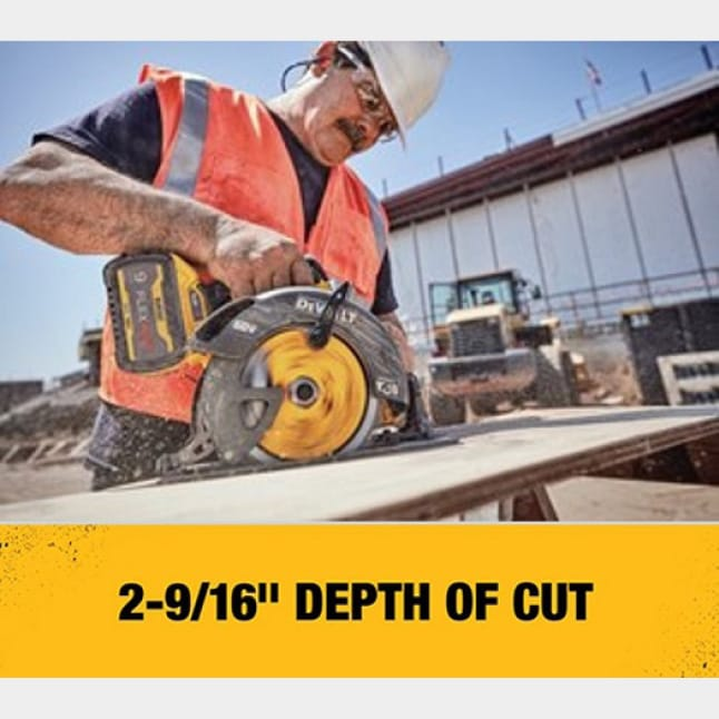 Tool uses a 7-1/4 in. circular saw blade and features a maximum cut depth of 2-9/16 in. at a 90 degree bevel.