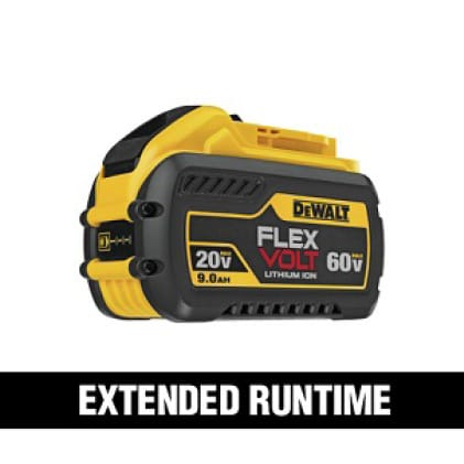 360 Watt hours when two DEWALT FLEXVOLT  DCB609 batteries are used in 120V MAX tools