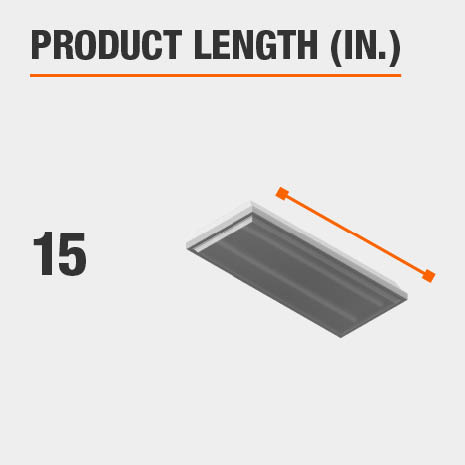 This light fixture has a length of 15 inches.