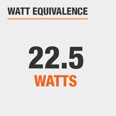 This light has a watt equivalence of 22.5 watts.
