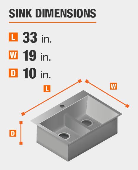 Sink dimensions are 33 in. W x 19 in. L x 10 in. D