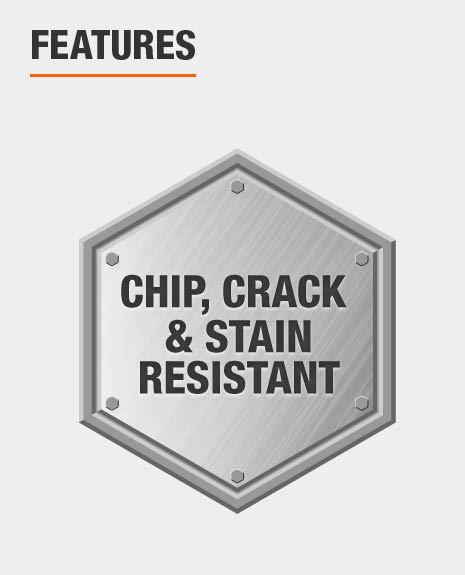 Sink is chip, crack, and stain resistant