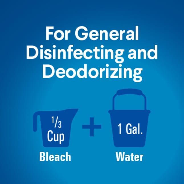 Dilute 1/3 cup of bleach with 1 gallon of water. Pre-wash surface, mop or wipe with bleach solution. Leave 5 minutes. Rinse well and air dry.