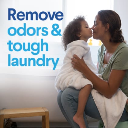 Removes odors and tough laundry stains.