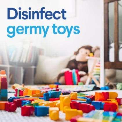 Disinfect toys and crafts at home or in the classroom.