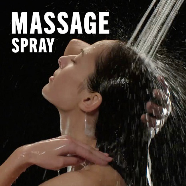 "Image is of a female model (shoulders-up) rinsing her hair with overlaid copy ""Massage Spray"""