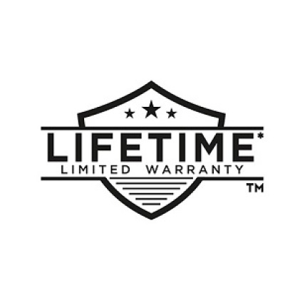 Image is a black and white line drawing of a Lifetime Warranty symbol