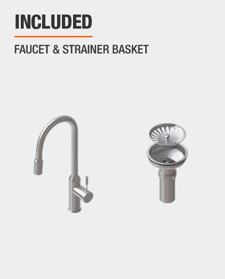 This sink includes Faucet, Strainer Basket