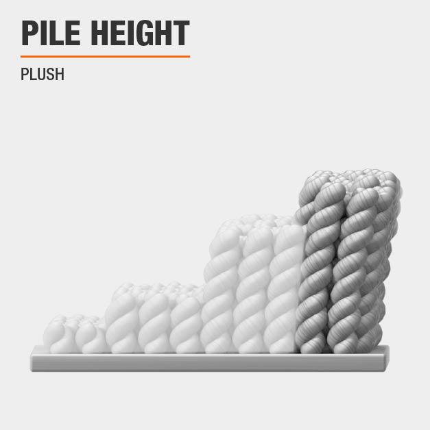 Area rug has a Plush pile height