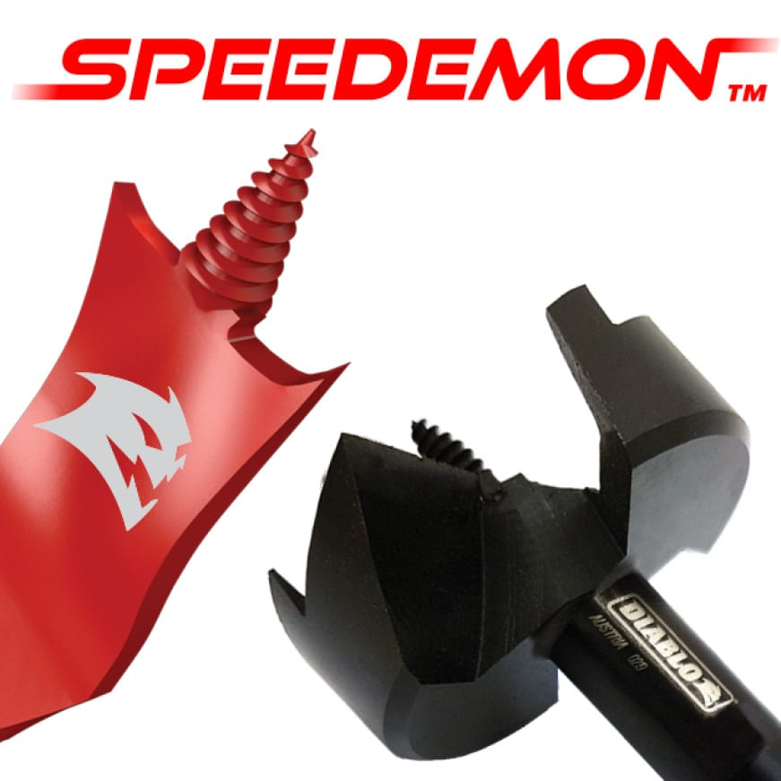 This is an image of Diablo's SPEEDEMON spade bits and self feed bits.