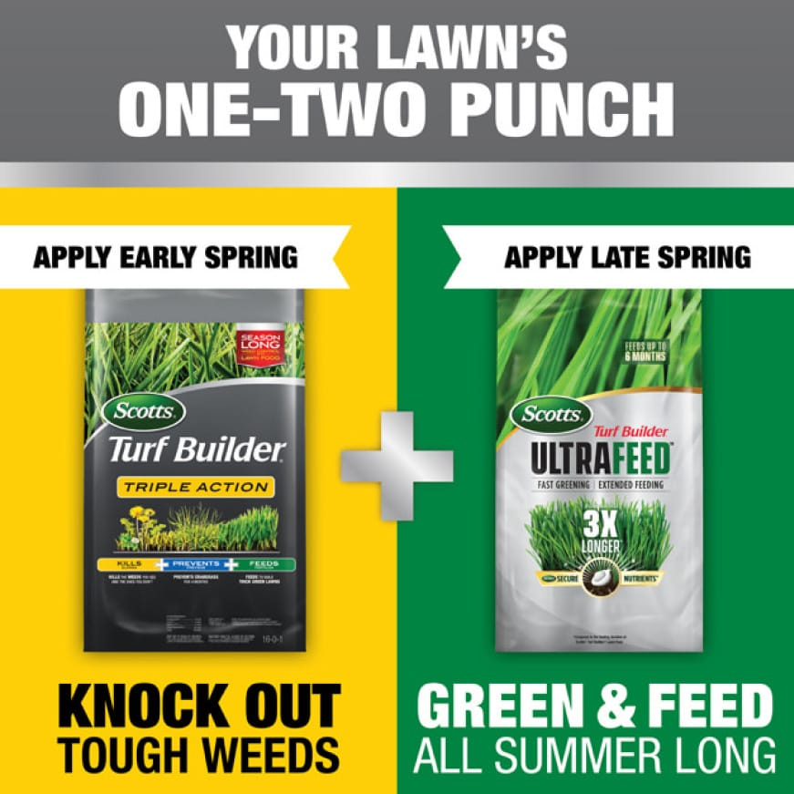 Apply Early Spring with Scotts Turf Builder Triple Action + Apply Late Spring with Scotts Turf Builder UltraFeed.