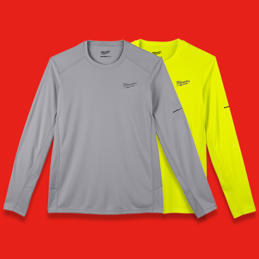The Milwaukee® WORKSKIN™ Lightweight Performance Shirts are available in Gray and High Visibility