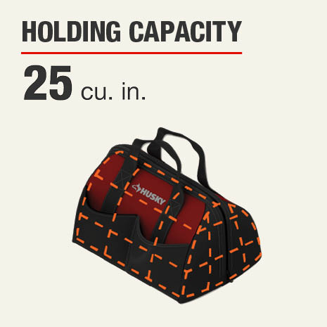 Husky 15 inch Tool Bag features 25 cubic inches interior storage