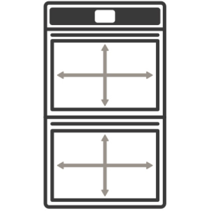 An icon of the appliance with arrows measuring its capacity