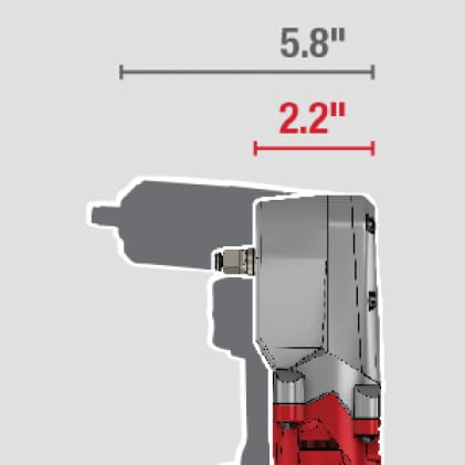 "Small 2.2"" head profile allows for more access in tight spaces"