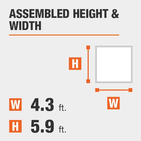 Assembled height equals 5.9 feet Assembled width equals 4.3 feet